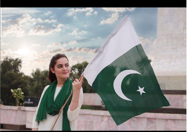 minal khan ,pakistani celebrity on independence day of pakistan