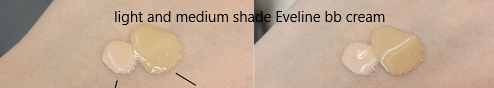 Swatches of Eveline bb cream