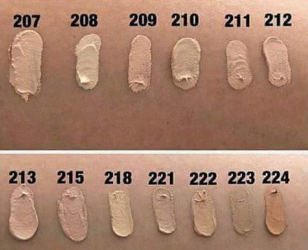 swatches of  Dermacol Makeup Cover foundation