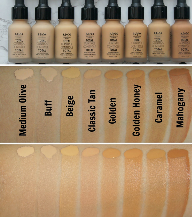 swatches of  NYX Professional Makeup Total Control Drop Foundation