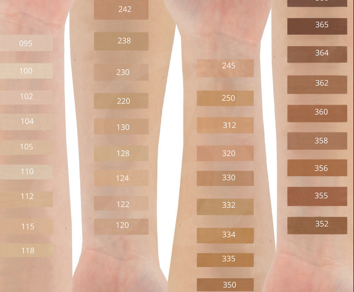 swatches of  Maybelline Fit Me Matte Poreless Liquid Foundation